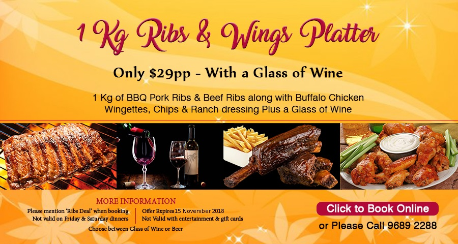 All you can eat Ribs and wings special offer with a bottle of wine