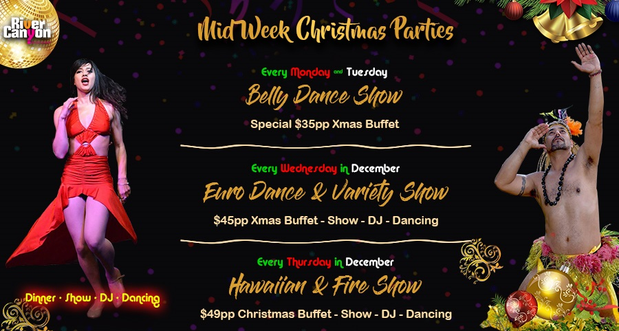 Mid week Staff Christmas Parties and End of year Functions Sunday to Thursday