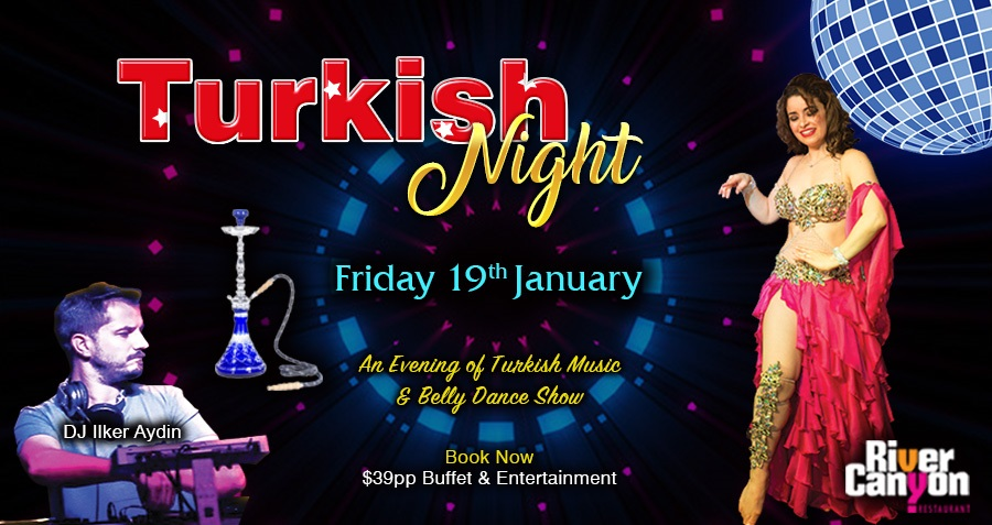 Turkish Night Dinner Dance Party with Turkish DJ Dancing Belly Dance Show