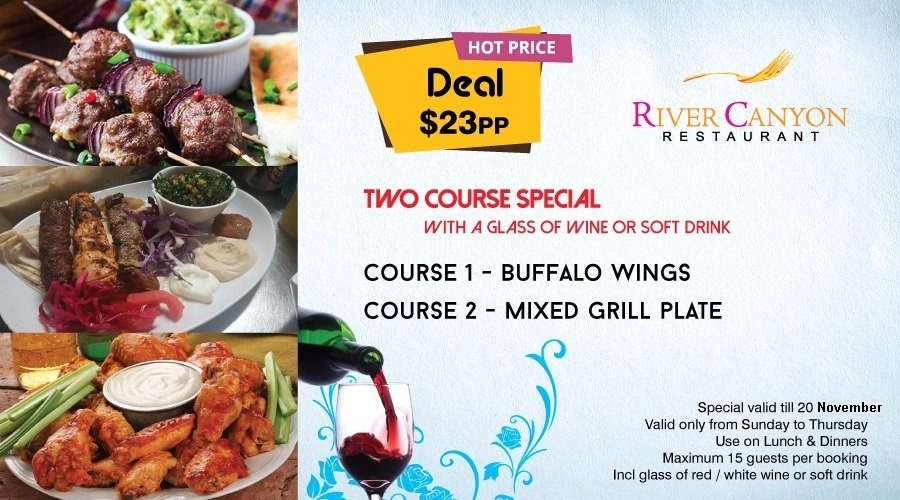 Two Course Dinner Special with glass of Wine